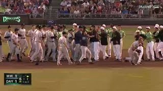 A brawl breaks out between the Whitecaps and Dragons