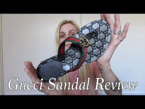 01441c5904e0 GUCCI SLIDE FLIP FLOPS BLACK On feet Review Gucci Black