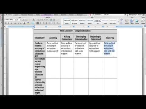 How To Write A Developmental Rubric