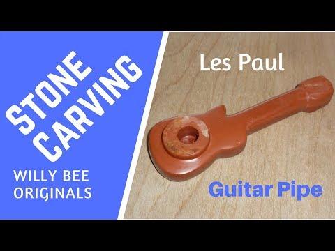 DIY Art Carving a Les Paul Guitar Stone Smoking Pipe