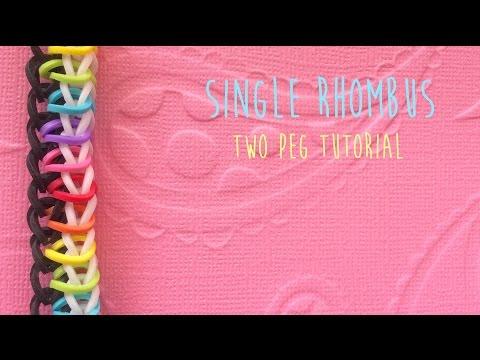 Rainbow Loom Bands Single Rhombus with two pegs tutorial