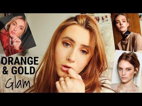 Orange & Gold Eye Makeup Look: NYFW 2018