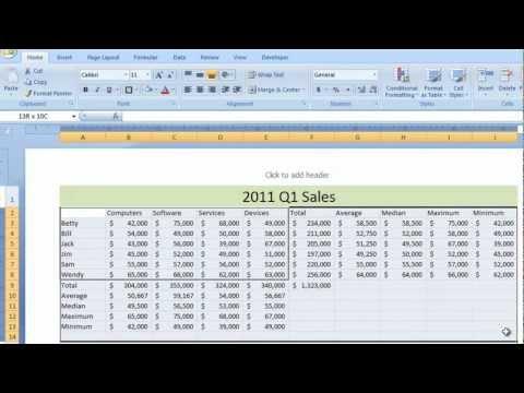 Excel 2007 Tutorial 5 - Function Worksheet Example - Sum Total Minimum Maximum Average Median