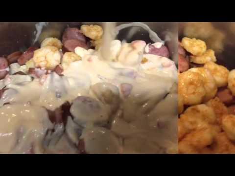 Making Cajun Chicken, sausage and shrimp Alfredo