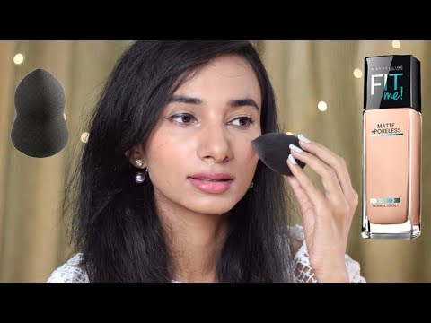 फाउंडेशन कैसे लगाएं| How to Apply Maybelline Fit Me Foundation for Full Coverage With Sponge