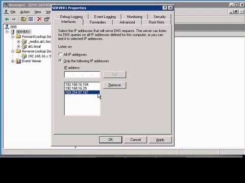 Configuring the interface listening tab in Windows DNS Manager
