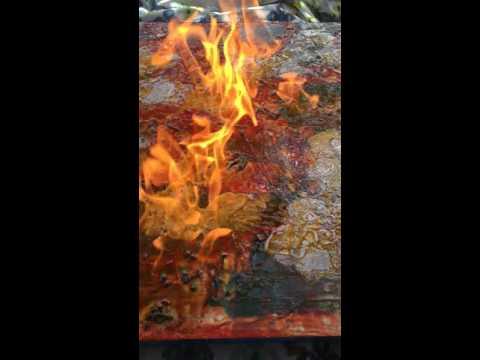 Encaustic video burning the shellac
