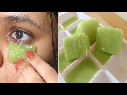 Rub Cucumber ice cube daily around eyes, 3 Days Later, No Dark Circles, No Puffy Eyes, No Eye bags
