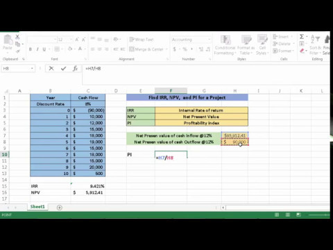 How to calculate IRR, NPV, and PI in excel