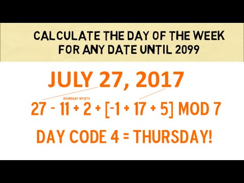 Calculate The Day Of The Week For Any Date Until 2099
