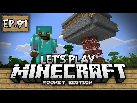 Survival Let's Play Ep. 91 - AUTOMATIC IRON FARM!!! - Minecraft PE (Pocket Edition)