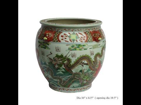 Chinese Porcelain Color Dragon Fish Pot Planter cs733-11