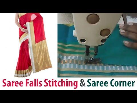 Saree Falls Stitching and Saree Corner Stitching in Tamil