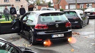 VW Golf VI GTI shooting flames w/ extreme loud bangs!!