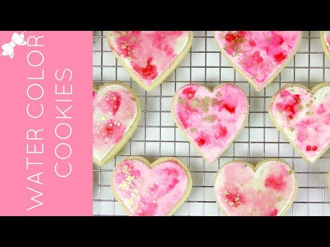 How To Make Pink and Gold DIY Watercolor Sugar Cookies // Lindsay Ann Bakes
