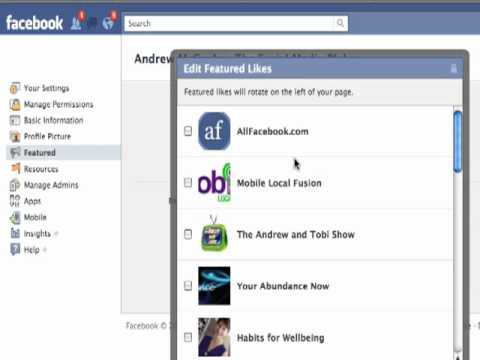 Set the featured Page Likes on your Facebook Page
