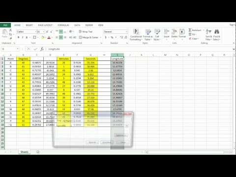 Decimal Degrees to Degrees Minutes Seconds coordinate conversion in Excel.
