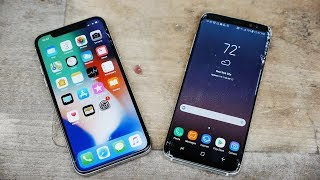 iPhone X vs Samsung Galaxy S8 Drop Test!
