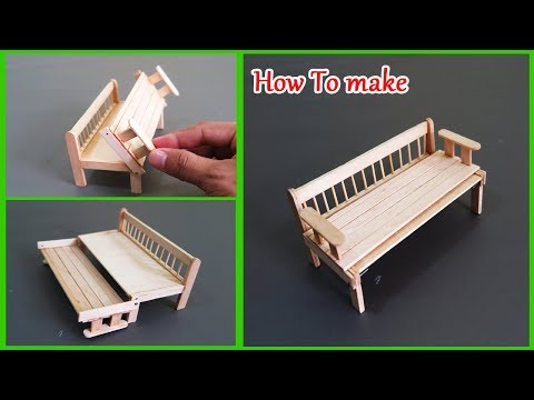 How To Make A Pull Out Sofa Bed From Popsicle Stick -  Miniature Sofa Bed ( Crafts For Kids)