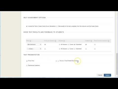 Blackboard Quizzes: deploying a quiz for students to take