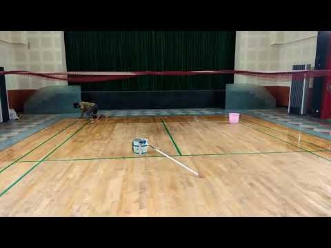 Badminton court shuttle court maintenance at railway department work under maintenance