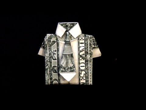 Dollar Origami Shirt & Tie Tutorial - How to fold a dollar bill in to a shirt and tie