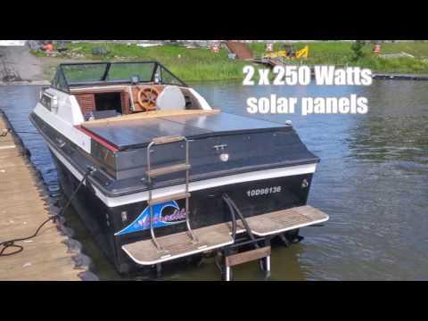 Boat gas cruiser conversion to solar electric with 2 Minnkota E-Drive motors 48V