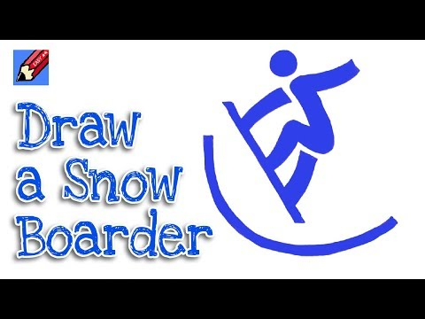 How to draw a Snowboarder Pictogram Real Easy