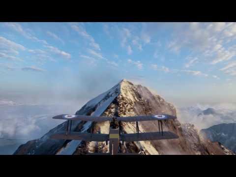 Battlefield 1 - Amazing mountains and wind sound - Plane training