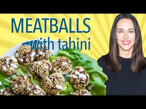 Meatballs with Tahini Sauce in a Tahini Crust - Meatball Recipe Without Tomatoes - Gluten-free