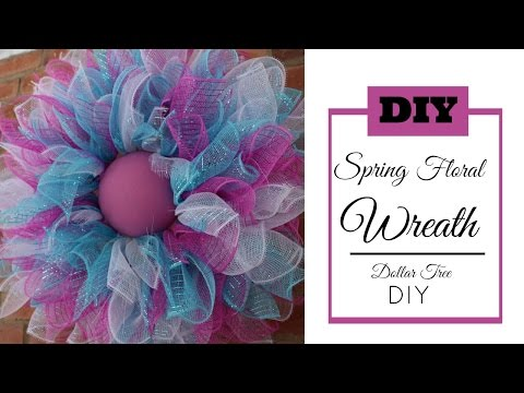 Deco Mesh Spring Wreath Tutorial | Dollar Tree DIY | Easter Wreath DIY