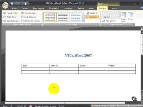 Microsoft Word 2007 ENG TB 07 01 Insert a Table