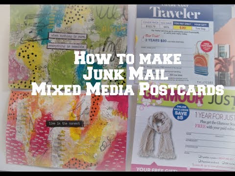 Junk Mail Media Mixed Postcards /how to make postcards from junk mail/ use your scraps