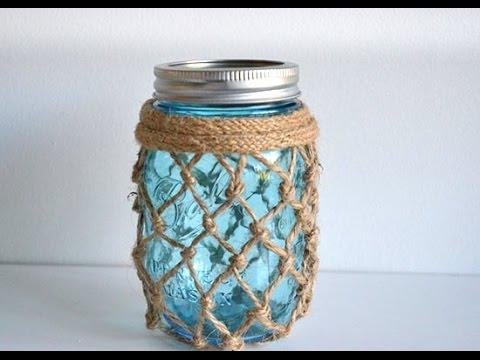Nautical-Inspired Fishnet Mason Jar Tutorial