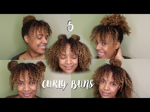 NATURAL HAIR | 2 MINUTE 5 BUN STYLES FOR CURLY HAIR