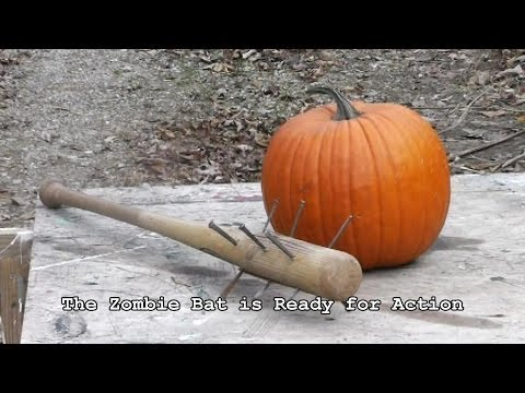 How to Make a Zombie Bat in 3 Mintues and Smash Zombie Pumpkins