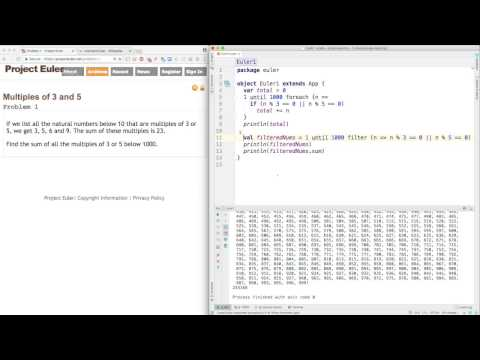 Project Euler Problem 1 Solutions in Python and Scala