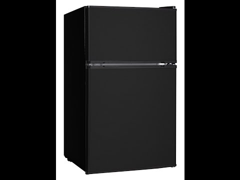 Midea WHD-113FB1 Compact Reversible Double Door Refrigerator and Freezer, 3.1 Cubic Feet, Black