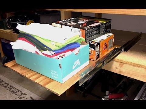 DIY Homemade Work Bench Pull Out Shelf