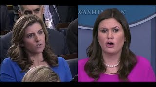 """""""Your Trump Collusion Obsession SHOULD be on FBI Text Messages"""" Sarah Sanders SLAMS Liberal Reporter"""
