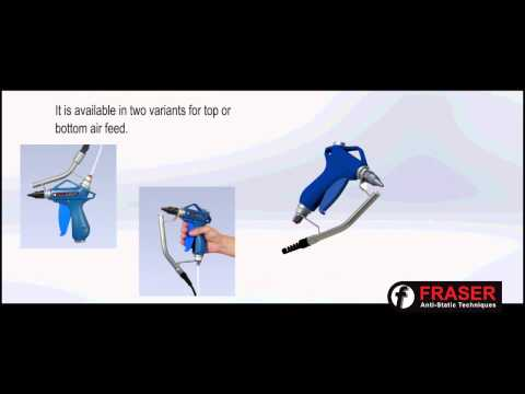 Ionised Air Gun for removing static electricity or dust and other contaminants