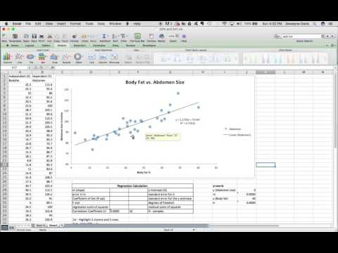 Regression and Correlation in Excel 2011 Mac