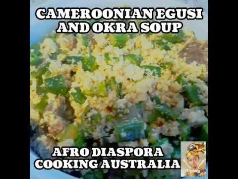 Cameroonian egusi and okra soup.