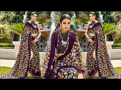 Indian Sarees Floral Print Designs: Georgette Sari with beautiful Patterns Latest Casual Wear online