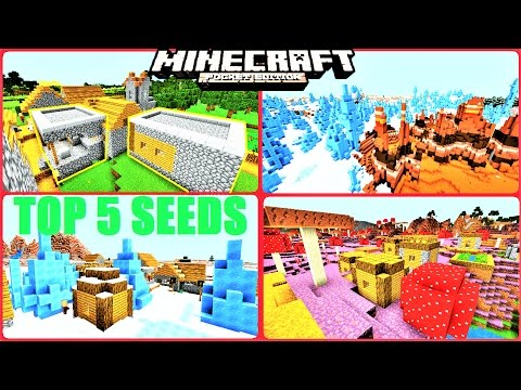 Minecraft PE - TOP 5 RARE VILLAGE SEEDS ! ICE SPIKE, MUSHROOM, STRONGHOLD & MORE ! MCPE 1.1/1.0