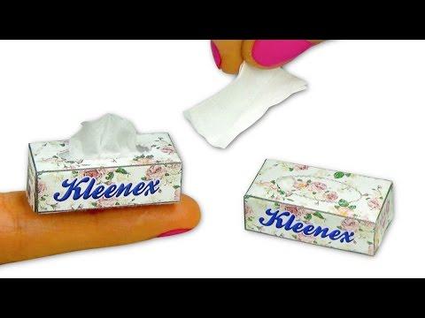 Miniature doll Tissue or Kleenex box (actually works) tutorial DIY - YolandaMeow♡