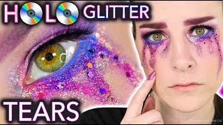 holo glitter tears makeup tutorial crying for views
