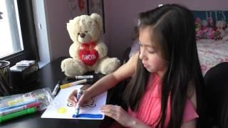 Drawing a Teddy Bear, How to Draw, Girl with Teddy Bear Stuffed Toy Animal Story Telling Draw Art
