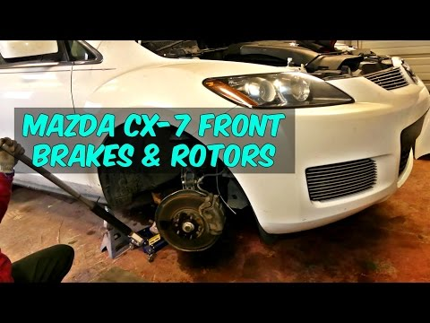 MAZDA CX-7 FRONT BRAKE PADS AND DISC ROTOR REPLACEMENT REMOVAL CX7
