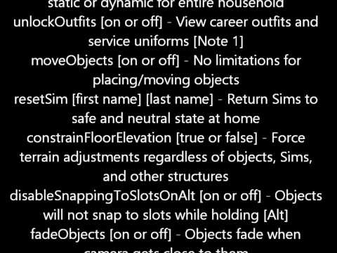 Sims3 Cheat Codes ~all of them~